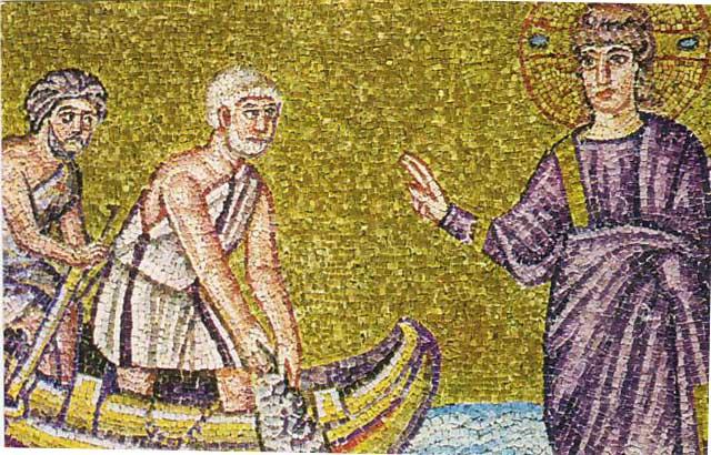 O I Xristos proskalei tous aftadelfous alieis Petro kai Andrea sthn apostolh tous Ravenna St aiwnas Antigrafo